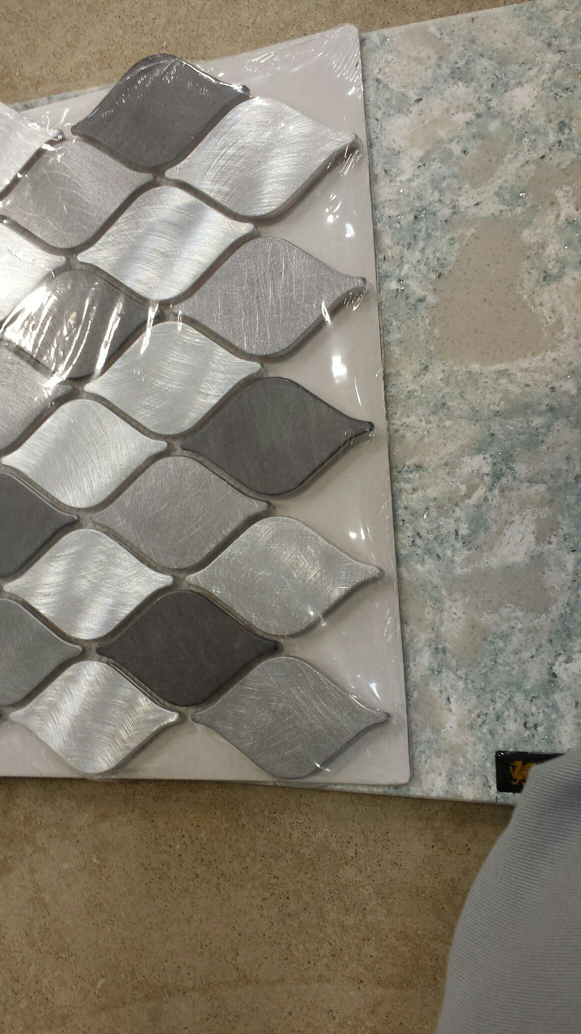 - Tile - Naxos Lantern Aluminum With Cambria Montgomery Quartz