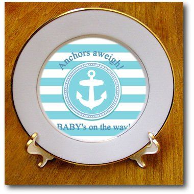 cp_179692_1 InspirationzStore Occasions - Anchors aweigh a babys on the way - for blue nautical boy baby shower - Plates - 8 inch Porcelain Plate 3dRose,http://www.amazon.com/dp/B00IT71K9G/ref=cm_sw_r_pi_dp_ldMhtb1WFDKK8MPC