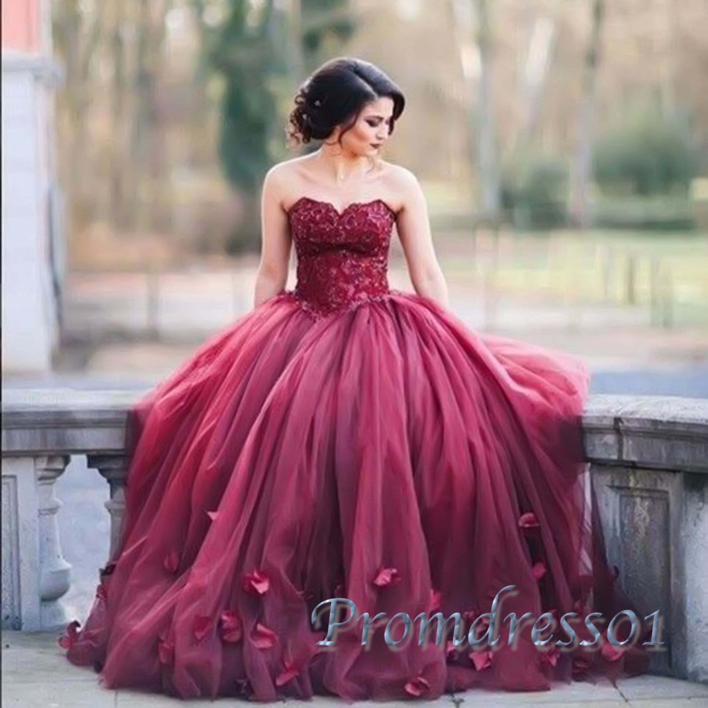 Beautiful sweetheart neck rosy organza poofy prom dress, ball gowns ...