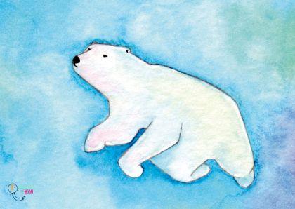 Dierenkaarten - Dierenkaart Aquarel ijsbeer-