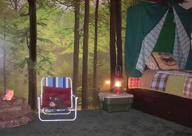 Outdoor Themed Bedroom | Boys Room Camping Theme with Mural ...