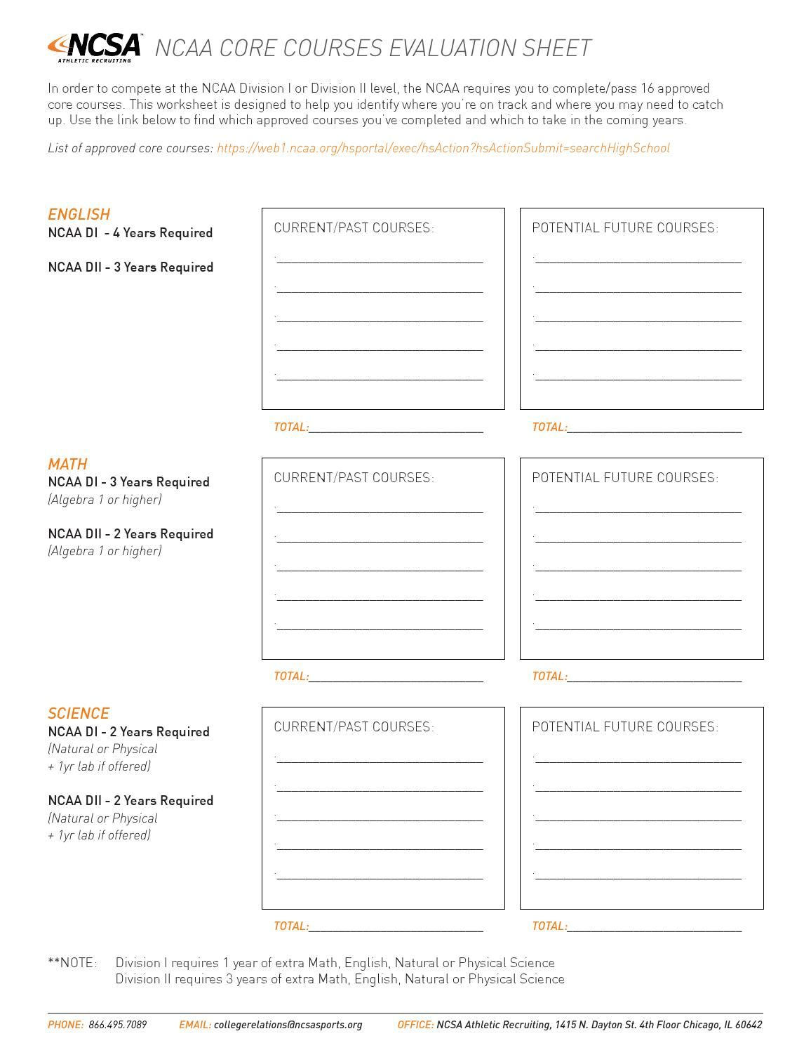 Ncsa S Core Courses Worksheet