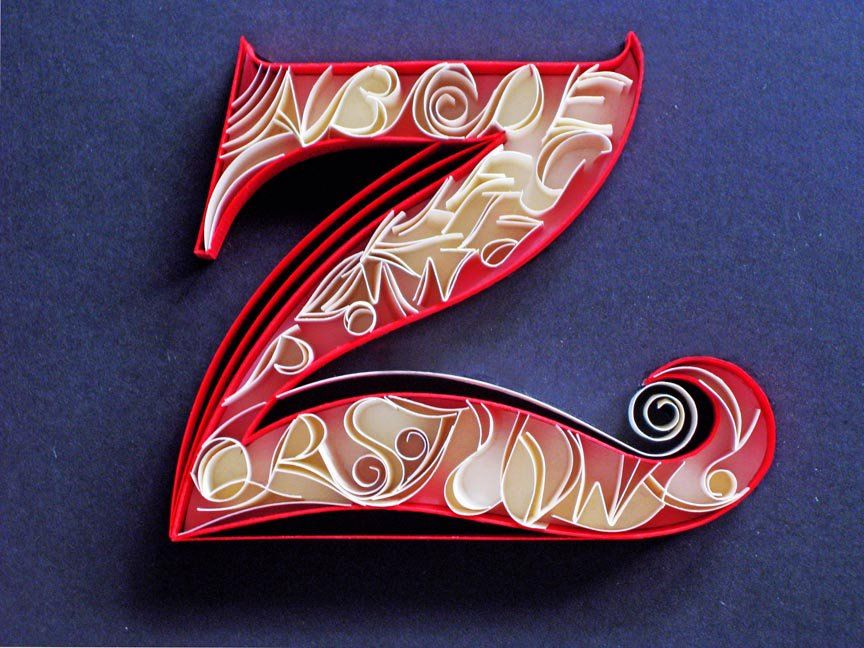 25 letters in letter Z. Paper Quilling from Sabeena Karnik