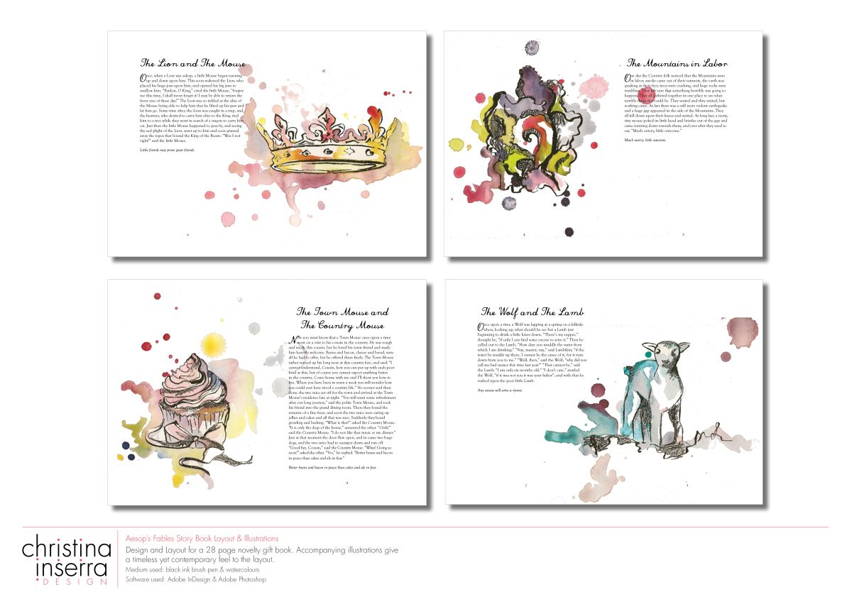 My Aesop S Fabels Story Book Layout Illustration Design Print Layout Book Design Layout Minimalist Book