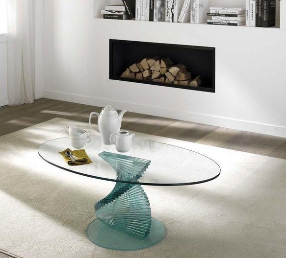 couchtisch glas spirale ovale glasplatte wohnzimmer modern Möbel