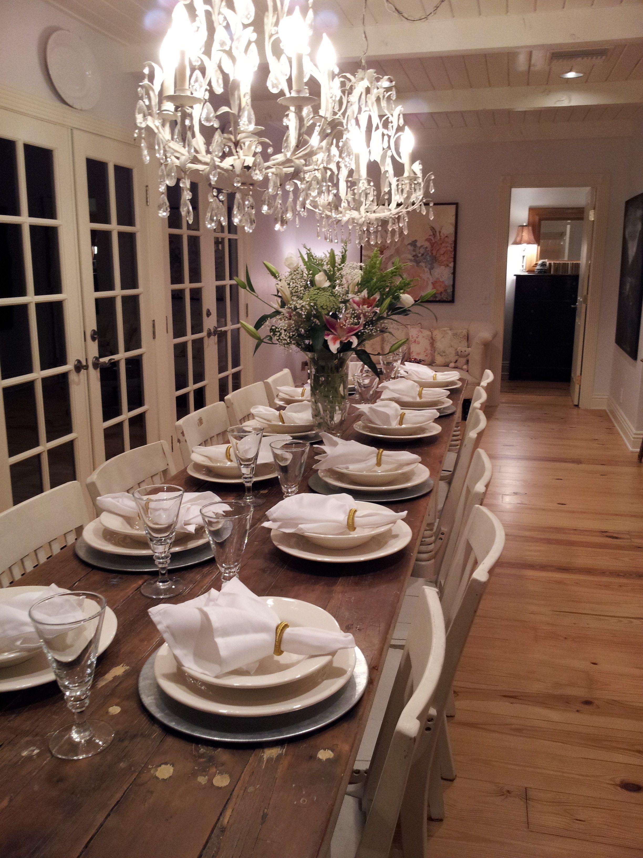 Long kitchen tables  Farm House table for LOVE  KITCHEN DREAMS  Pinterest  Farm