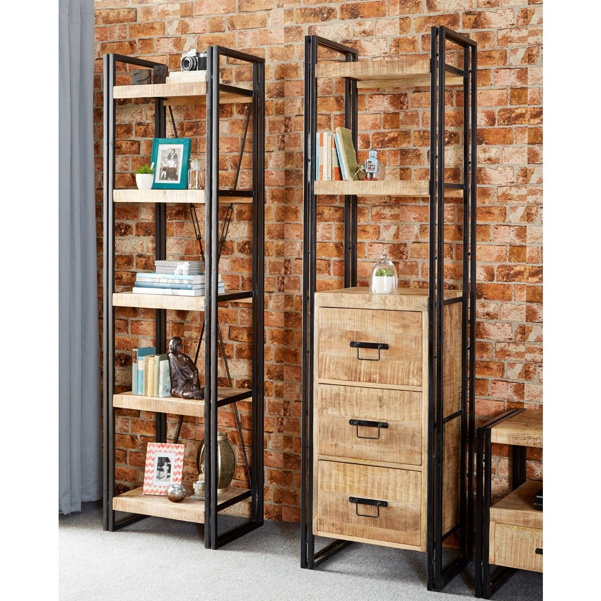 Upcycled Industrial Mintis Narrow Bookcase with 3 Drawers - Reclaimed Wood Mental Frame Bookcase Bookshelf Organizing