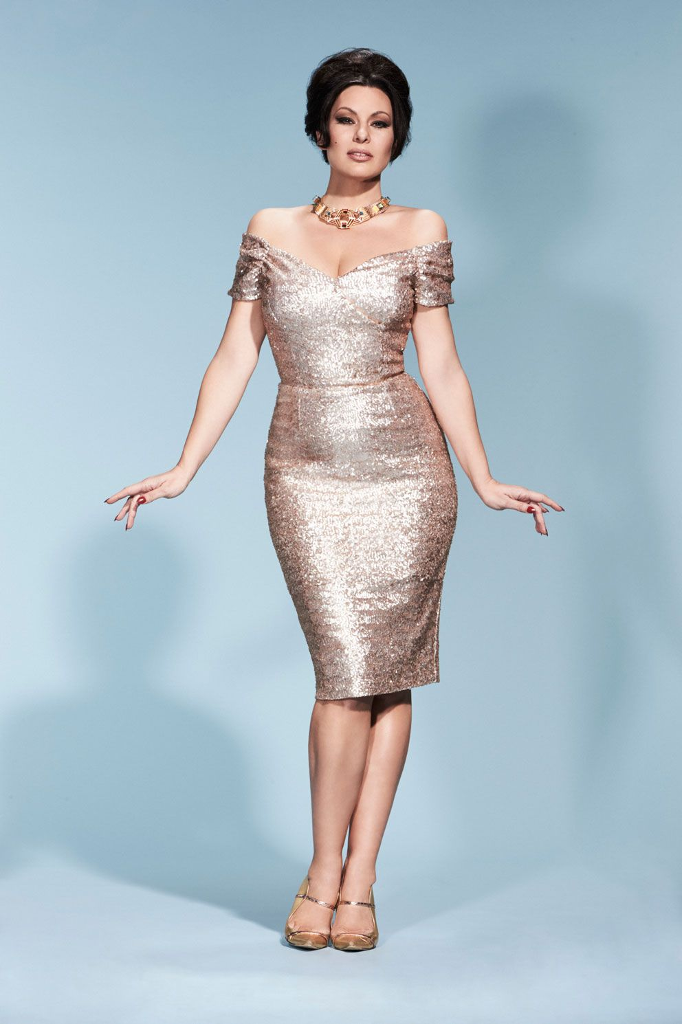 Fatale Pale Gold Sequin Pencil Dress | The Pretty Dress Company ...