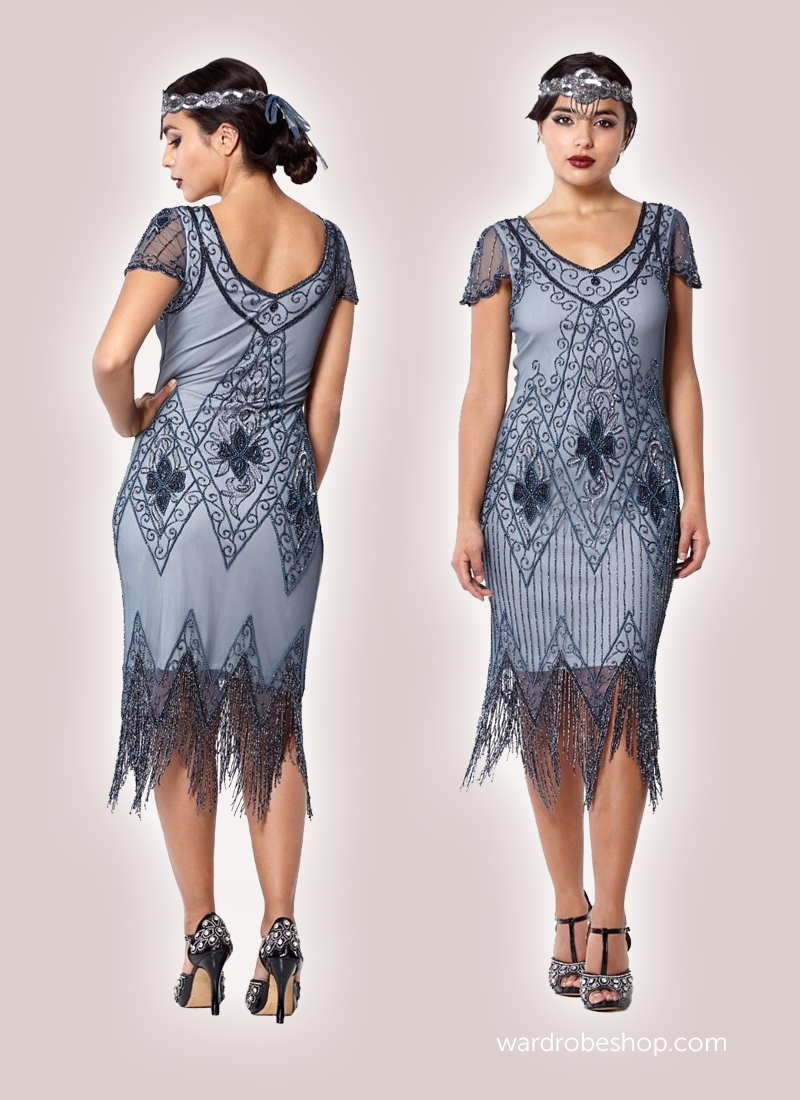 Flapper Style Fringe Party Dress in Blue Grey | Gatsby party, Gatsby ...