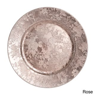 Floral Design Charger Plate (Set of 4) | Overstock.com Shopping - Great Deals on Plates