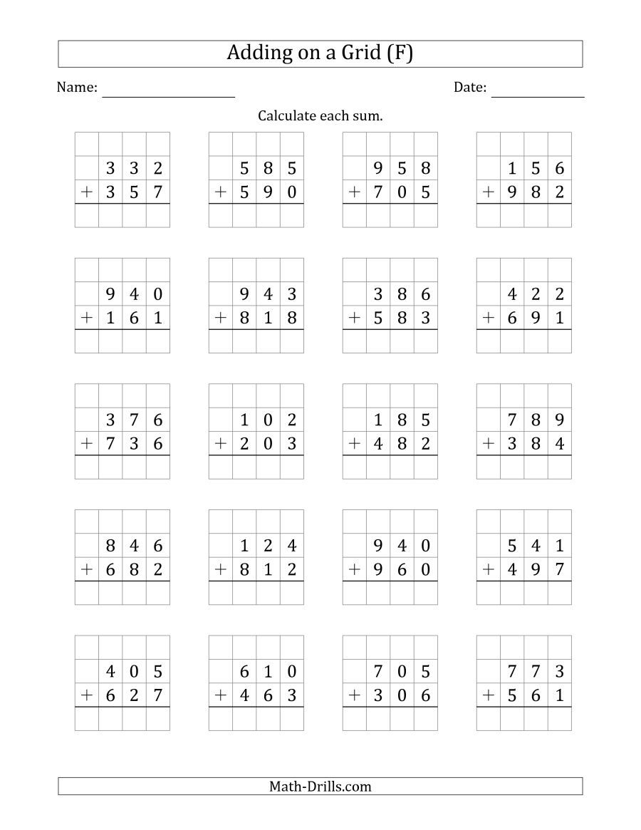 The Adding 3 Digit Plus 3 Digit Numbers On A Grid F Math Worksheet 2nd Grade Math Worksheets Math Practice Worksheets Kids Math Worksheets