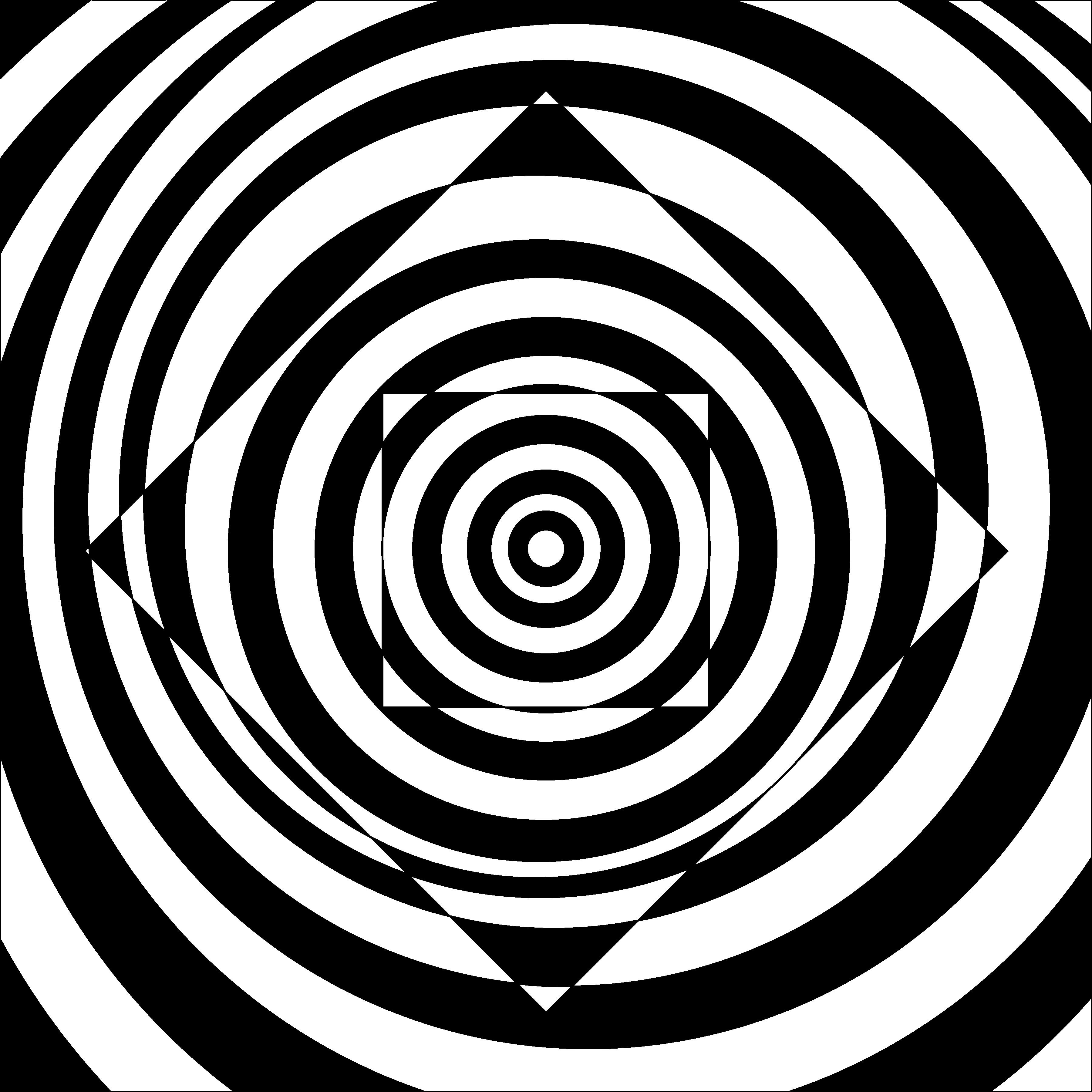Line Drawing Illusion : Black and white artwork of a bulging square illusion the