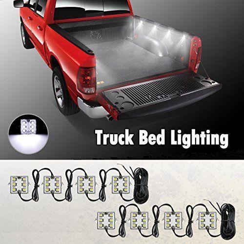 Partsam Universal Waterproof White Led Truck Bed Rear Work Box Lighting Kit Trunk Light For 1994 2010 Dodge Ram 1500 2 Truck Bed Lights Chevy Trucks Bed Lights