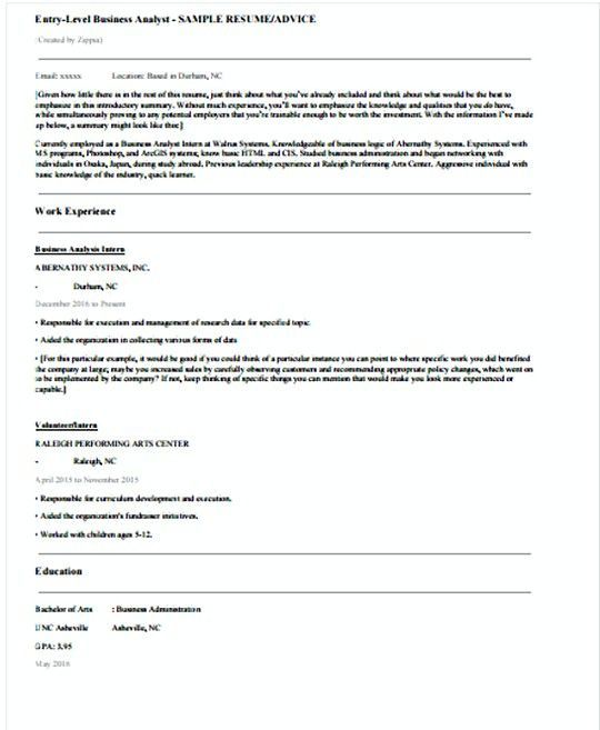 Entry Level It Business Analyst Resume Template  It