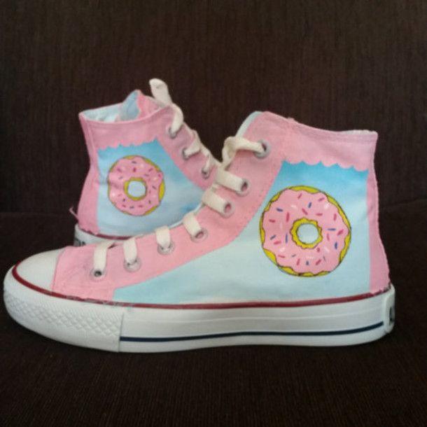 cute converse shoes shoes light blue donut pastel pink
