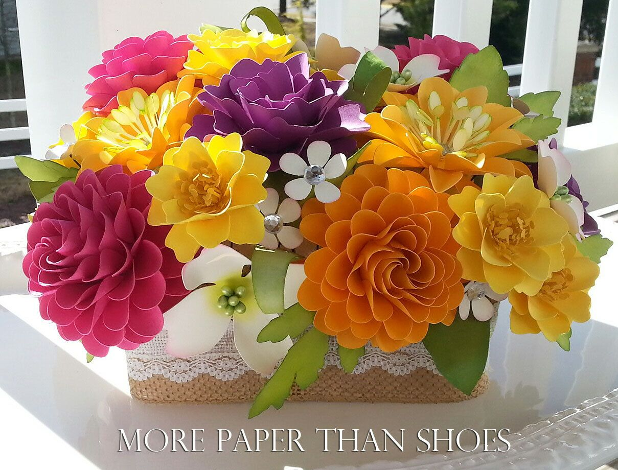 Paper Flower Centerpiece Table Arrangement Wedding Flowers