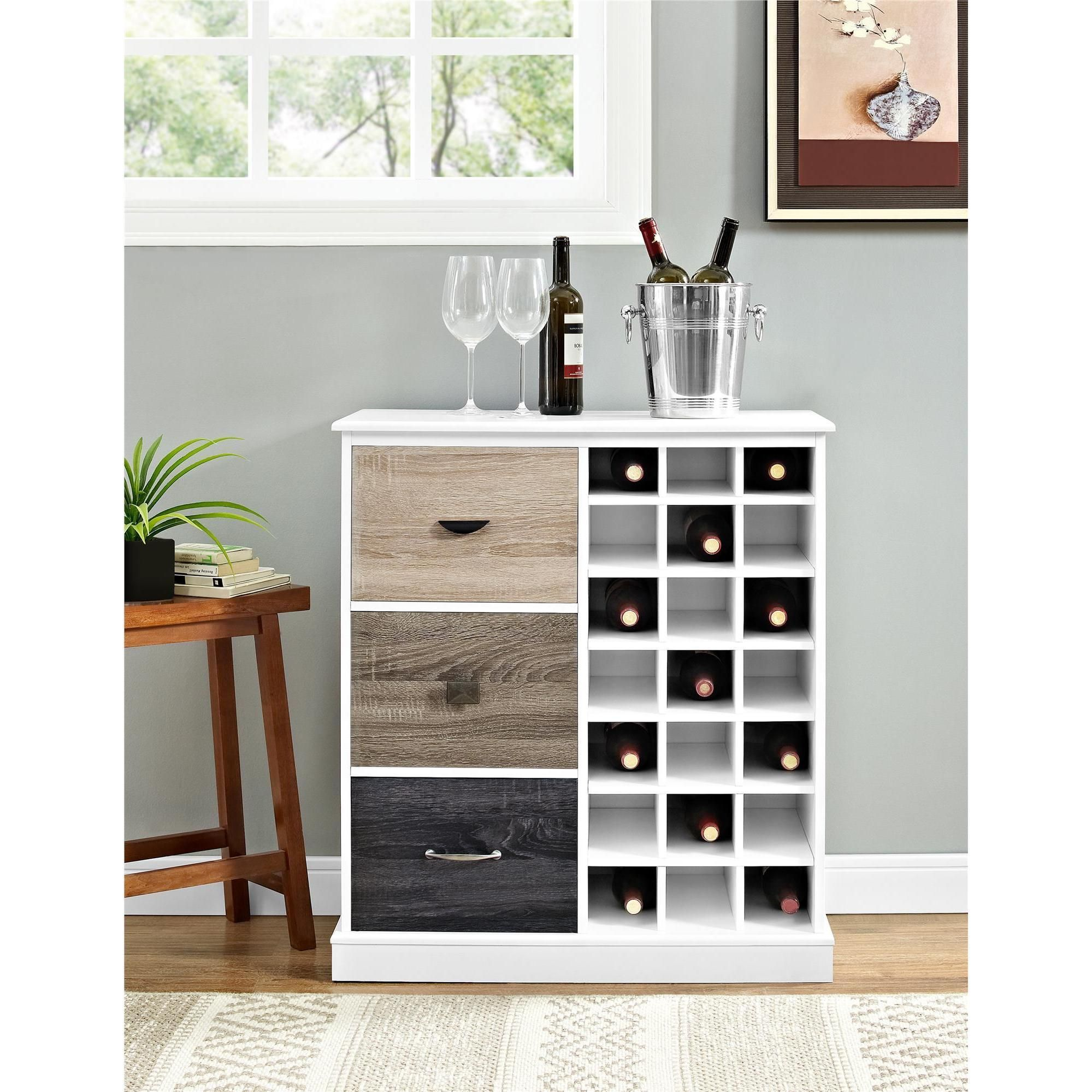 Surprising Ameriwood Home Mercer White Wine Cabinet With Multicolor Interior Design Ideas Ghosoteloinfo