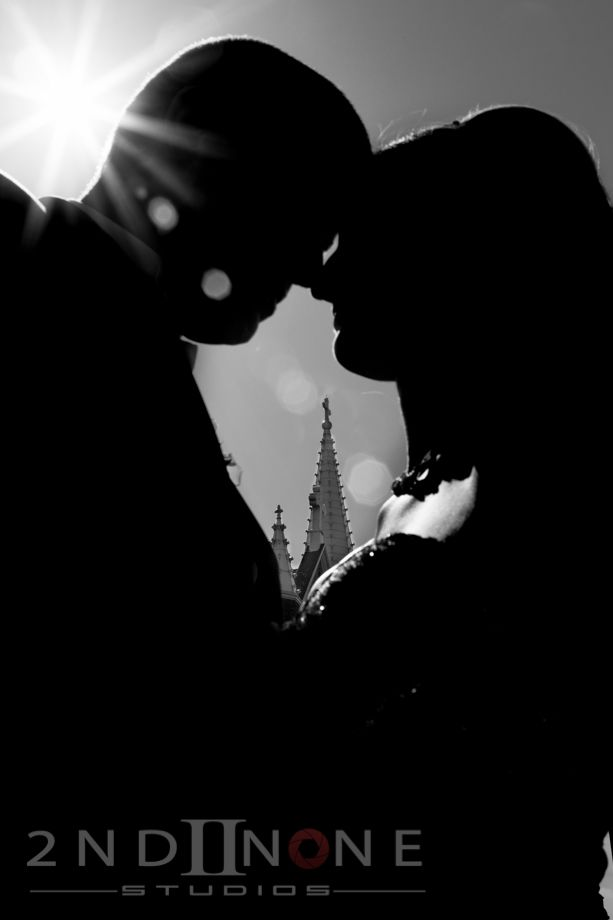 Bride and Groom #silhouette, steeple in the background. Black and White different wedding photo. Pittsburgh Weddings. Photo by Natalia