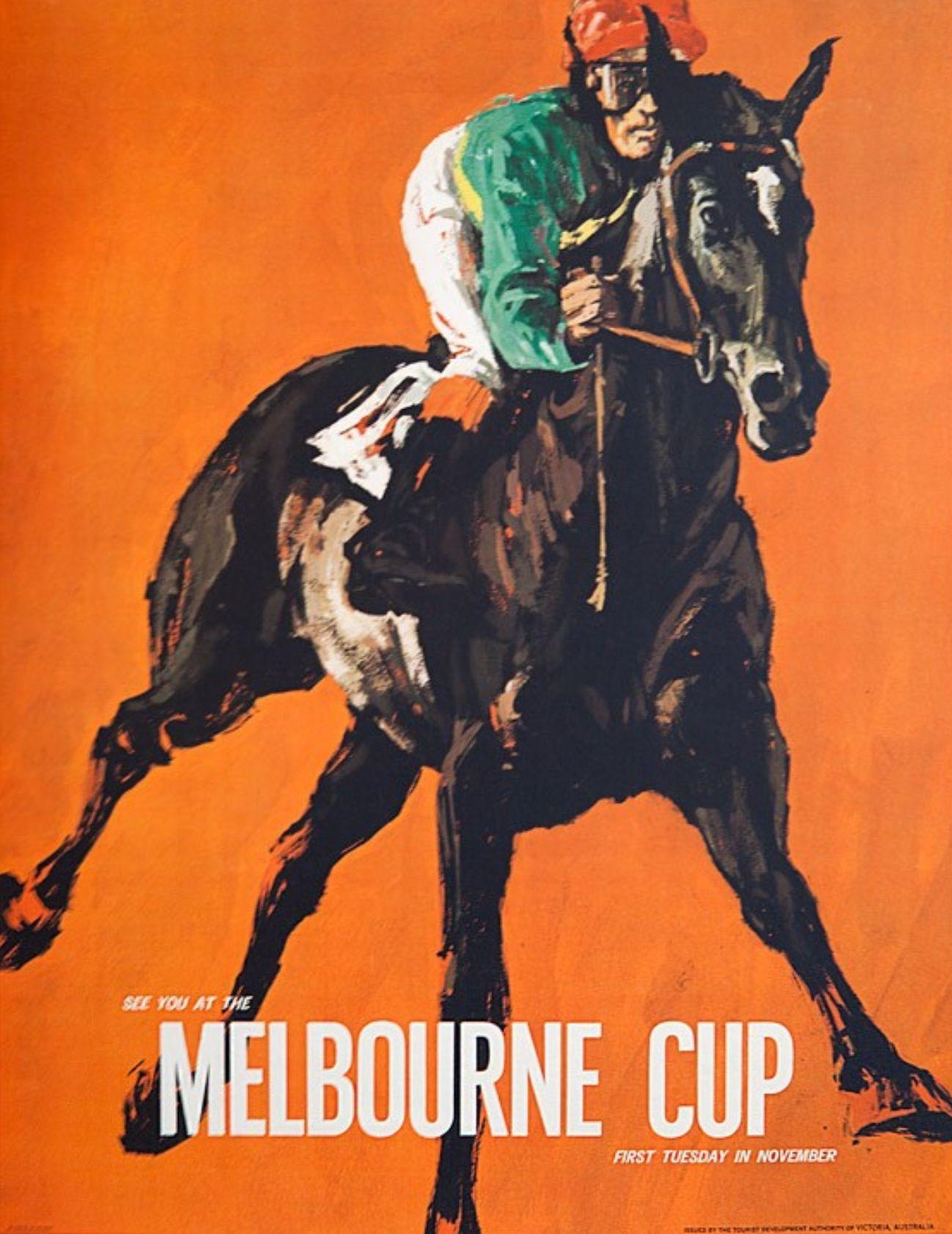 Vintage Poster Melbourne Cup Horse Racing Australia