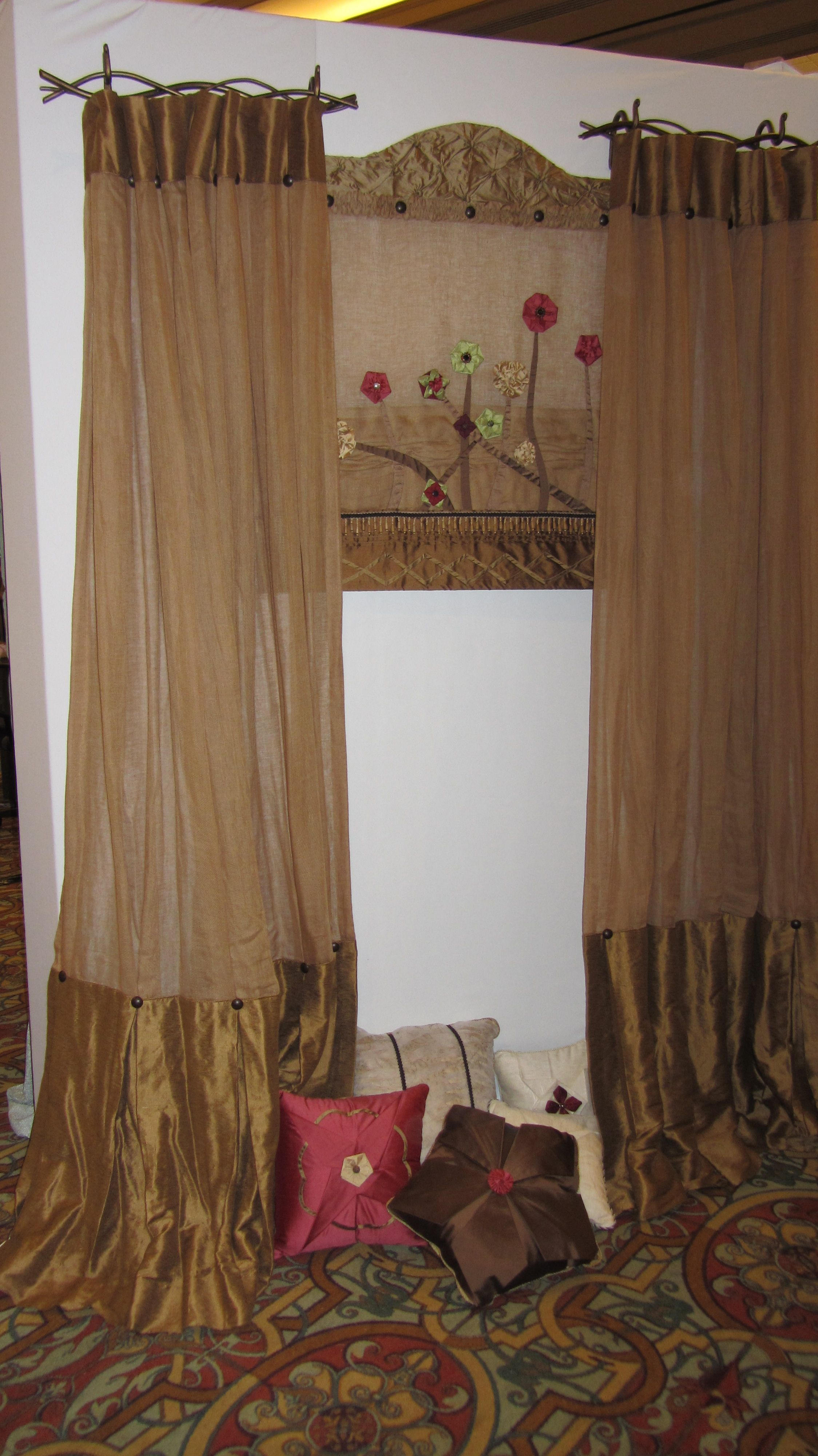 Twig Curtain Rods And Applique To Roman Shade Curtains