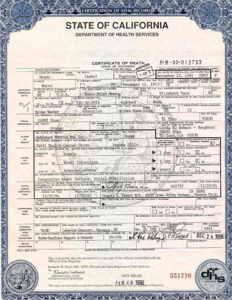 Certification Of Vital Record State Of California Department Of