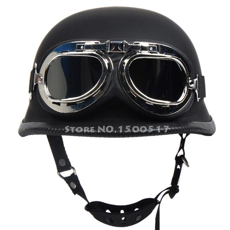 Barato Segunda guerra mundial alemão estilo vintage motorcycle cruiser meia capacetes  capacete de moto motocicleta capacete casco casque com óculos ... 202c24008c