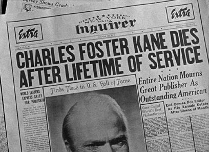 newspaper headline charles foster kane dies after lifetime of  essay about citizen kane citizen kane essay and over other research documents orson welles born in 1915 had acted at the
