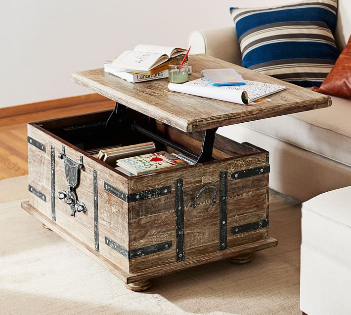 Kaplan Reclaimed Wood Lift Top Trunk Coffee Table