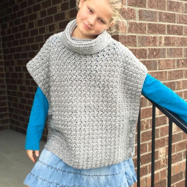 Crochet Pattern Fiona Poncho With Cowl For Babies Girls Teen
