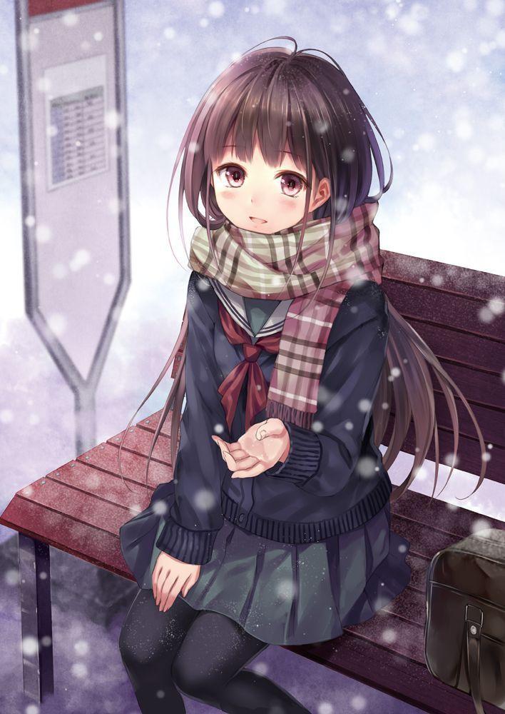 「綿雪の温度」/「フカヒレ」のイラスト Winter in 2019 Anime, Anime chibi