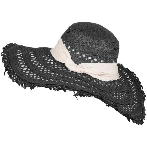 Hat Attack Black Fringed Open Weave Sun Hat Clothes Design Black Fringe Outfit Accessories