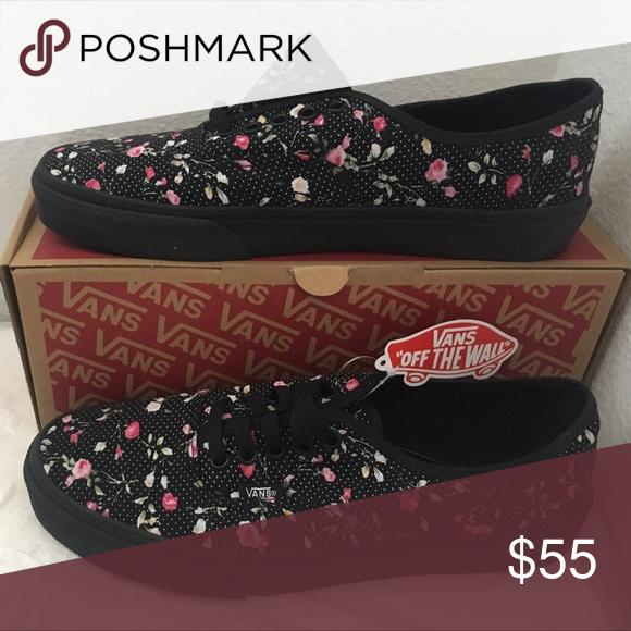 c99c6660f6235d vans authentic(floral dots)black black 8 14 Vans Shoes Sneakers