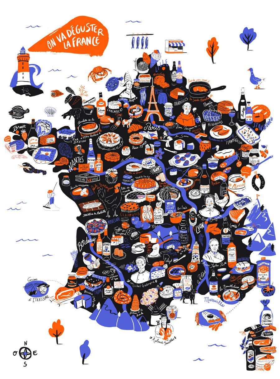 France Map Carte On Va Deguster 2018 By Aurore Carrie France