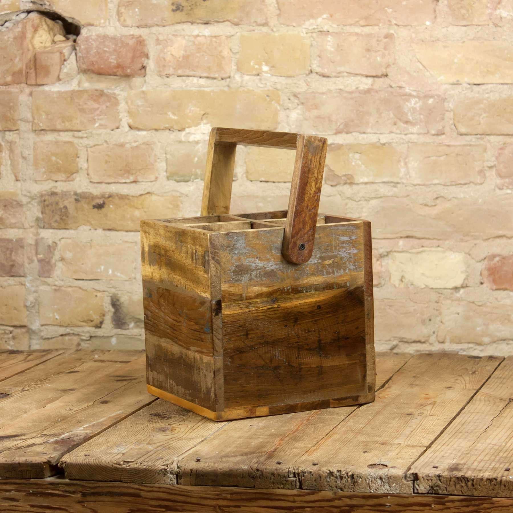 Trendig Holzkorb für Falschen mit Griff im Shabby Chic Style. #interior  XS62