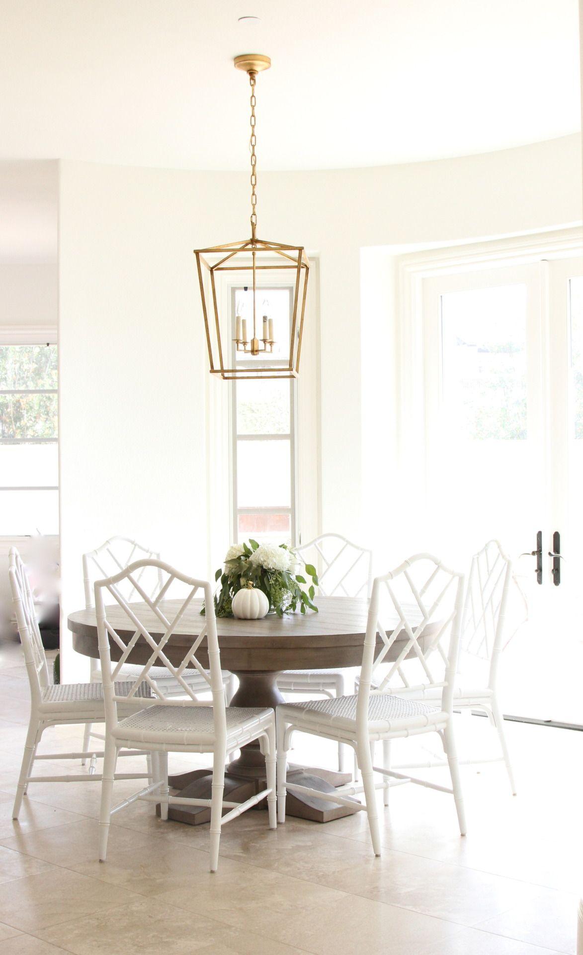 Dining Space With Gold Lantern Light Fixture Ballard Designs Bamboo Chairs