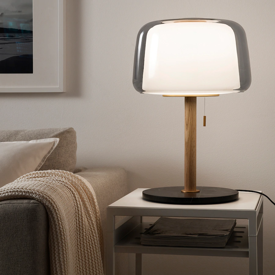 Evedal Table Lamp With Led Bulb Marble Gray Gray Ikea In 2020 Grey Table Lamps Table Lamp Lamp