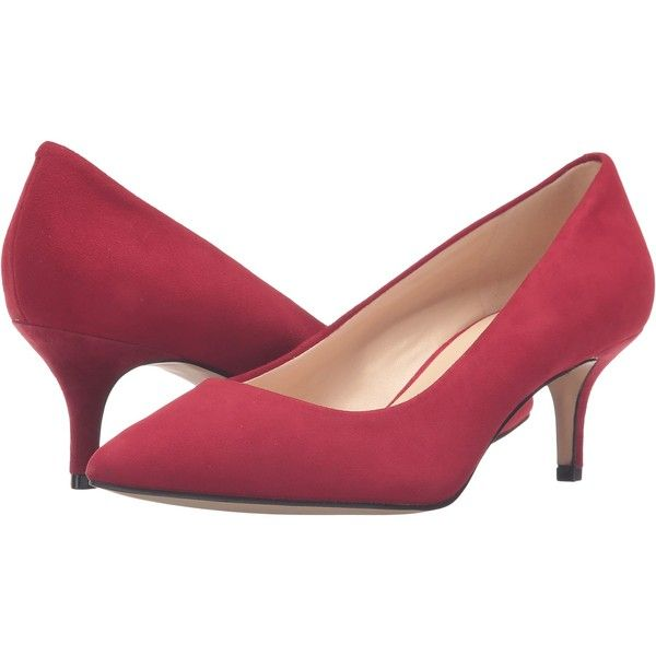 Nine West Xeena Red Suede Women S 1 2 Inch Heel Shoes 56 Liked On Polyvore Featuring Shoes Pumps Red Kitten H Kitten Heel Pumps Mid Heels Pumps Heels