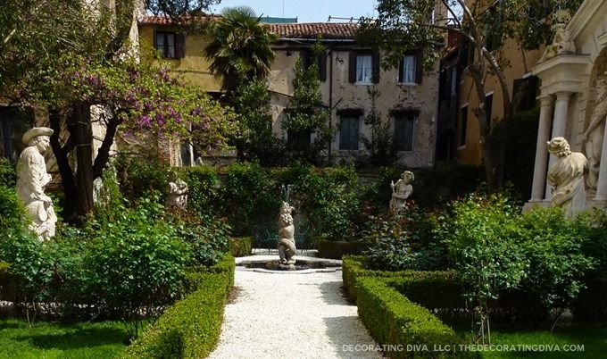 Countess Barnabou0027s Garden Fountain And Statues Against Venetian Palazzos    The Decorating Diva, LLC #