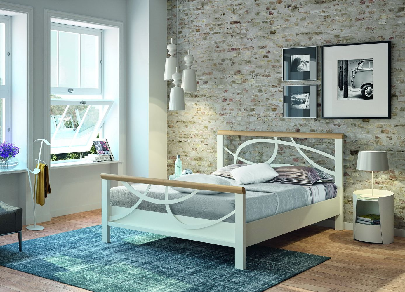 lit lauren bois et m tal en ch ne naturel massif d cors d coupe laser chevet 1655t en t le. Black Bedroom Furniture Sets. Home Design Ideas
