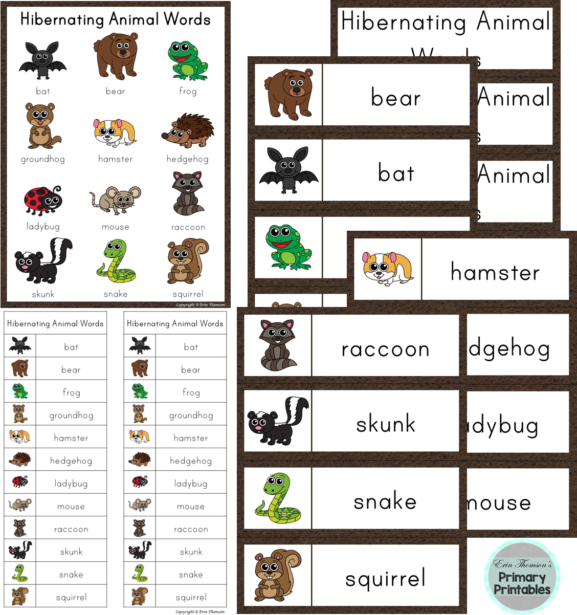 Writing Center Word List Hibernating Animal Words