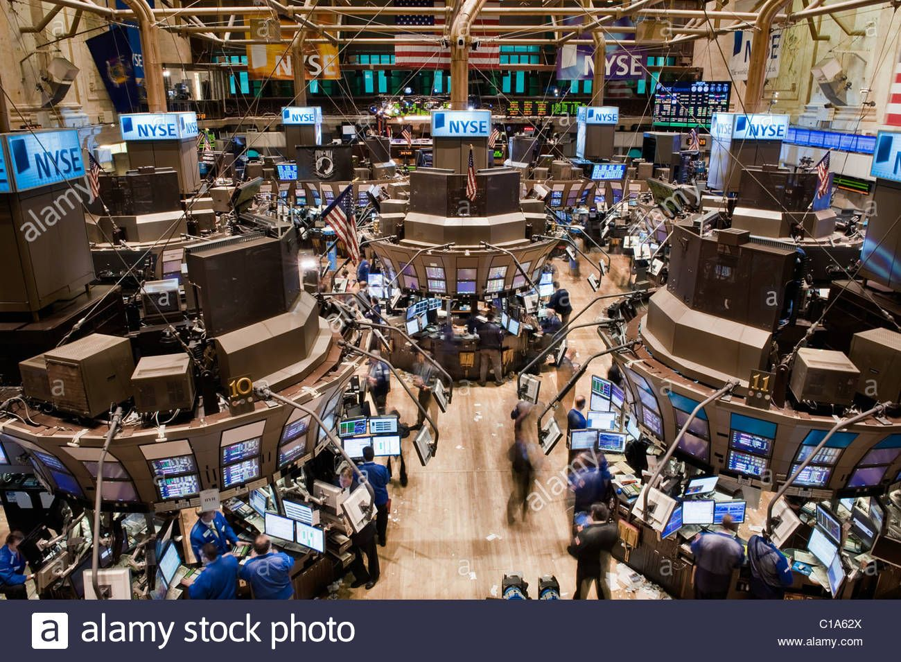 Looking Downwards At The Trading Floor Of The New York Stock Exchange On Wall Street Stock Image Stock Exchange Initial Public Offering Trading Brokers
