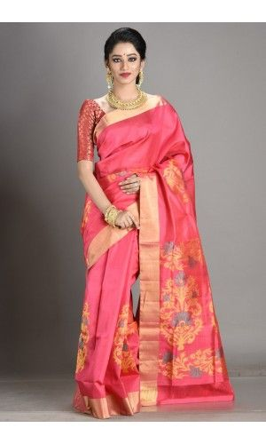 d2db5216d6 Peach Arni Silk Saree of category Colourful South India presented by the  most famous saree boutique in kolkata Adimohinimohankanjilal