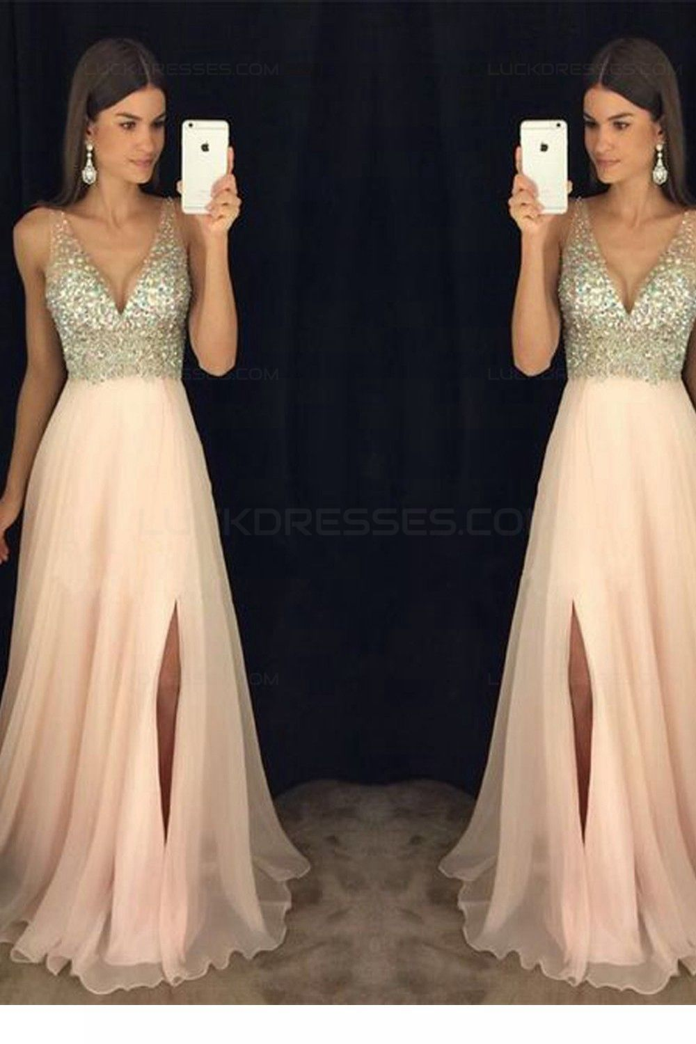 Aline vneck beaded sequins long chiffon prom dresses party evening