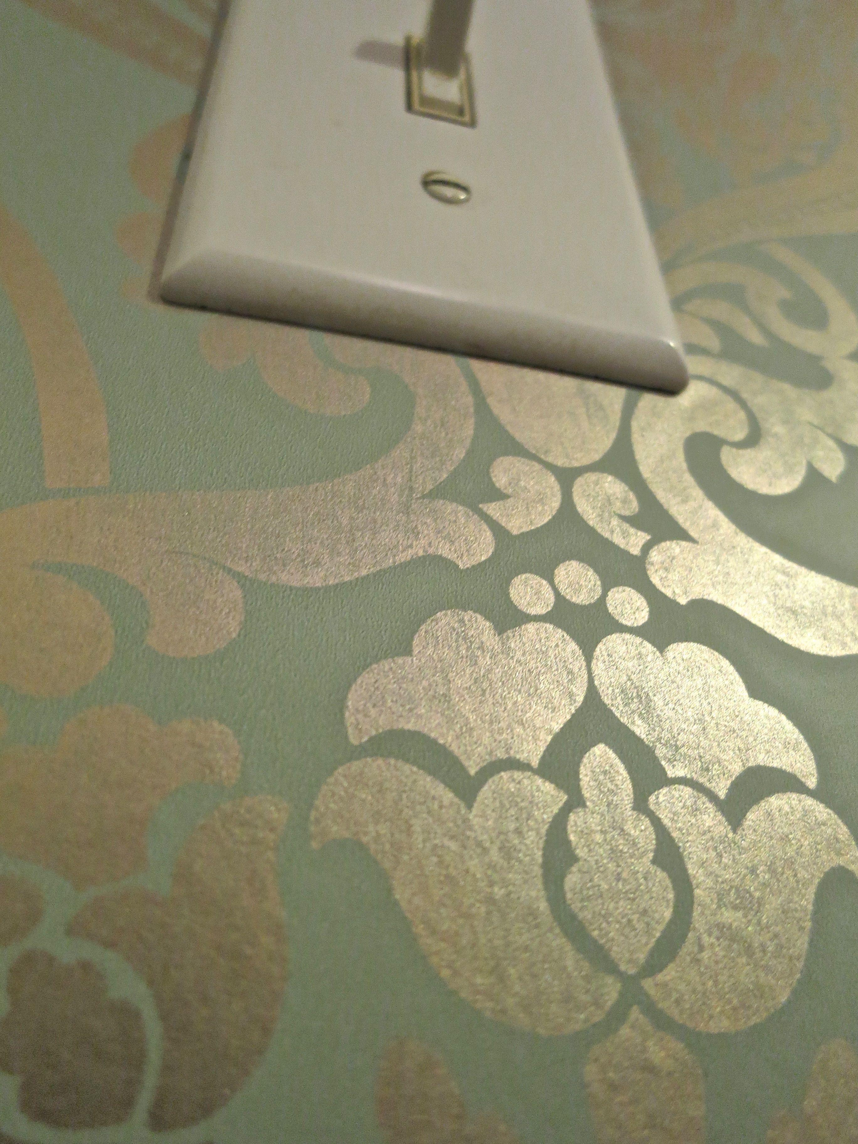 Best Sea Foam Green And Gold Wallpaper In Kitchen Kitchen 400 x 300