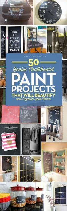 Info's : 50 Genius Chalkboard Paint Projects That Will Beautify and Organize Your Home. Chalkboard paint is a great way to beautify your house and refresh old furniture, walls, and more! Use these cool chalkboard paint projects for your house today! #diyncrafts #chalkboard #chalkboardpaint #home #paint #paintprojects
