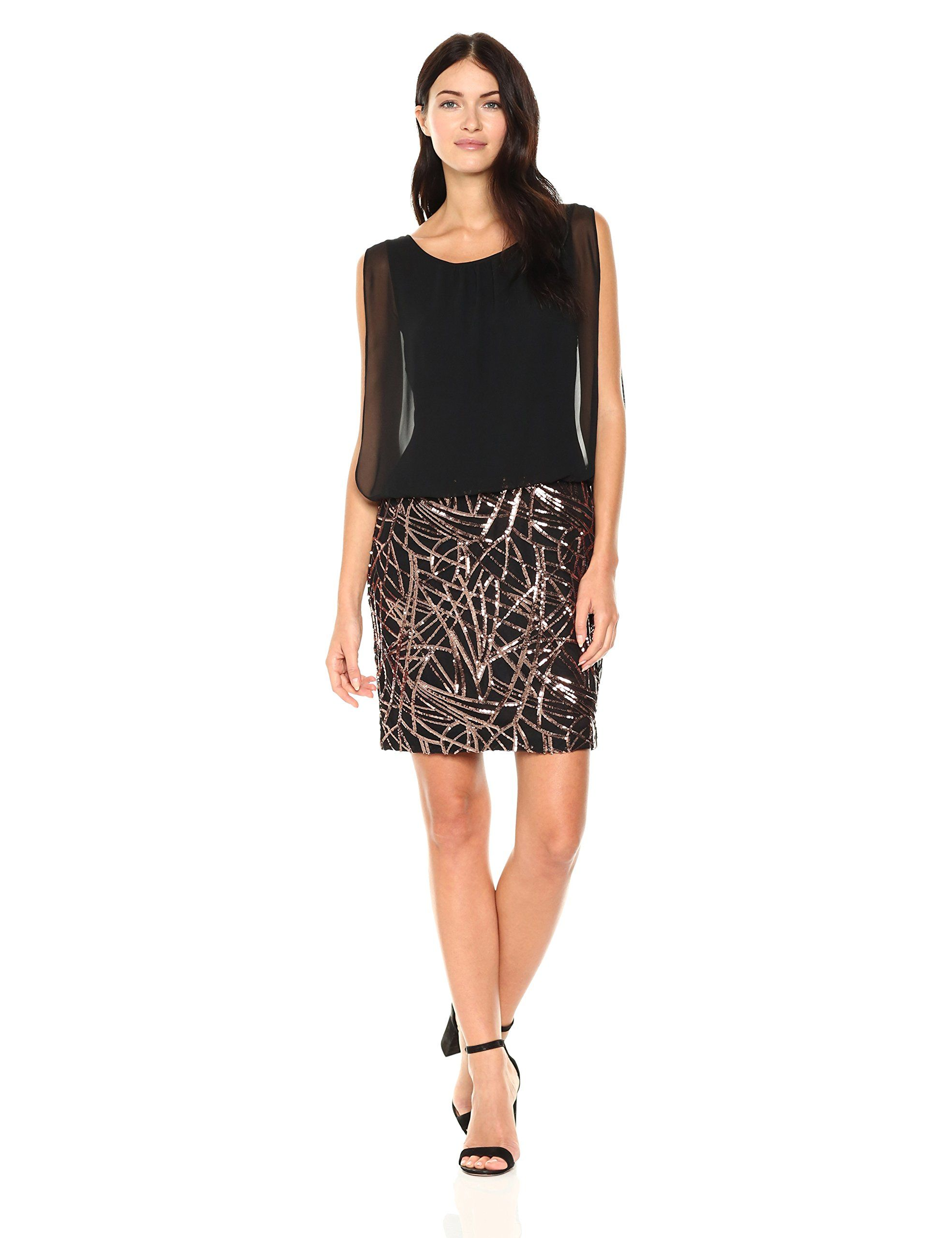 05376f21609d2 Calvin Klein Womens Sleeveless Dress with Embroidered Skirt Black Copper 10  -- Click on the image for additional details-affiliate link.  WomenDresses