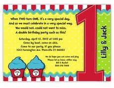 Thing 1 Thing 2 Cupcakes Twins First Birthday Invitation Dr