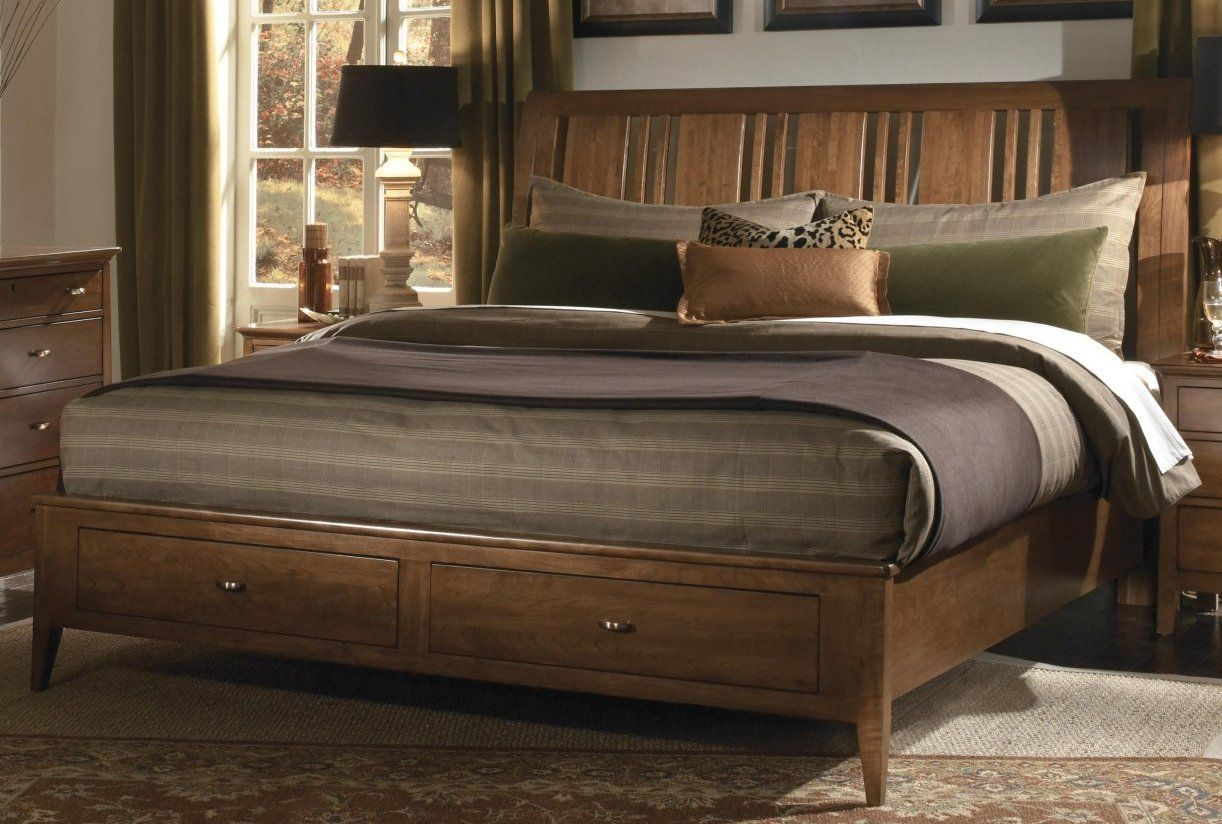Amazon Com Kincaid Cherry Park Solid Wood King Sleigh Storage Bed Platform Beds 1700 Kincaid Furniture Bed Frame And Headboard Storage Bed