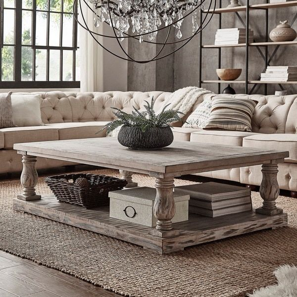 Edmaire Rustic Baluster 60 Inch Coffee Table By Inspire Q Artisan