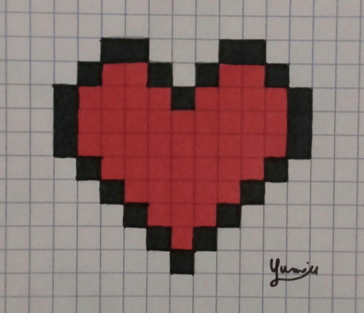Pixel Art Coeur Terminé Encré Dessin
